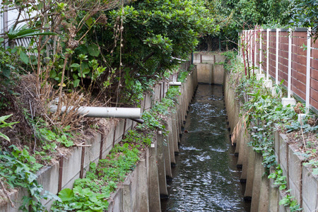 residential street: Japanese small canal besides residential street