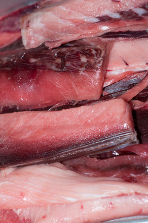 animal blood: The leftover pieces of tuna when it was cut off for Sashimi, known as Ara in Japanese