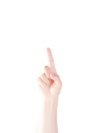 pointing finger up: Pointing finger: Up on white isolated background Stock Photo