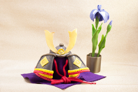public holiday: Japanese antique helmet called Kabuto for a public holiday called Kodomo No Hi on 5th May Stock Photo