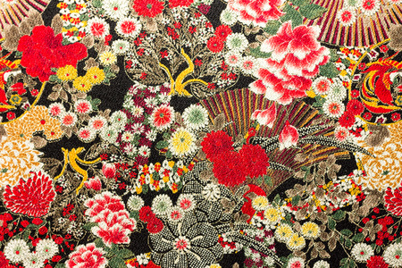Photo of Asian flower pattern fabric 스톡 콘텐츠