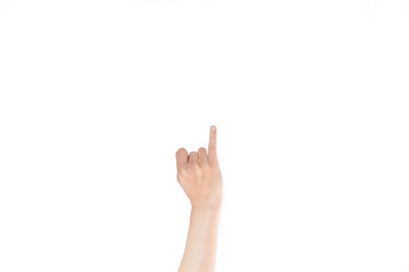 pinkie: Japanese hand gesture:  Girlfriend, Woman, Mistress on white isolated background Stock Photo