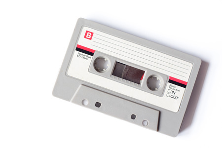 Retro gray and white compact cassette
