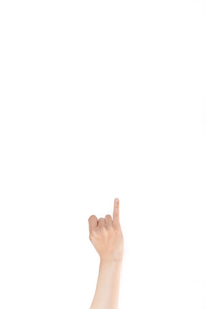 dedo me�ique: Japanese hand gesture:  Girlfriend, Woman, Mistress on white isolated background Foto de archivo