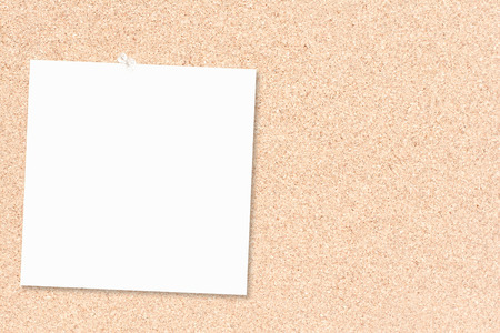 thumbtacked: Cork board as a white piece of paper  thumbtacked Stock Photo
