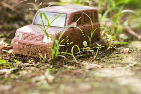abandoned car: Abandoned toy car