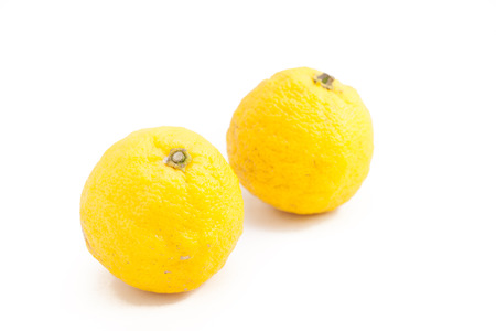 citron: Citron fruit also known as a Yuzu in Japanese on white isolated background