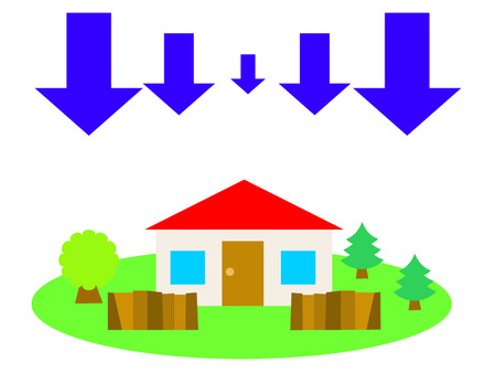 country side: A red roof house in the country side and down arrows