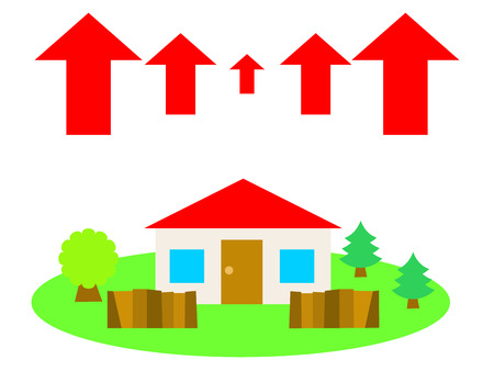 赤い屋根の家は国の側面で、矢印を