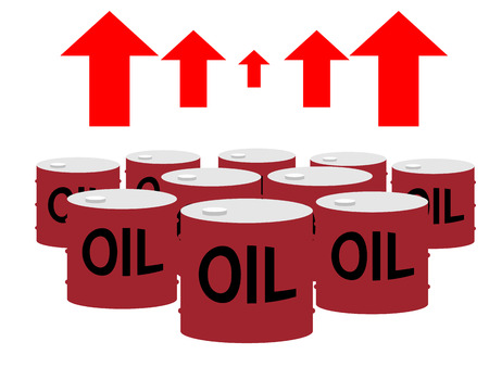 energy crisis: Drum cans of oil and up arrows