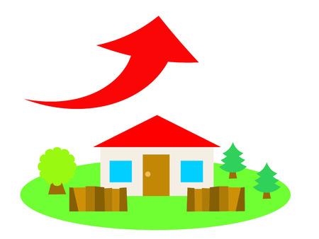 赤い屋根の家は国の側面で、上向きの矢印