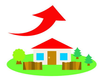 A red roof house in the country side and up arrow
