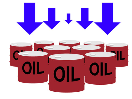 Drum cans of oil and down arrows