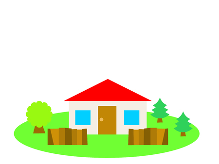 国の側に赤い屋根の家