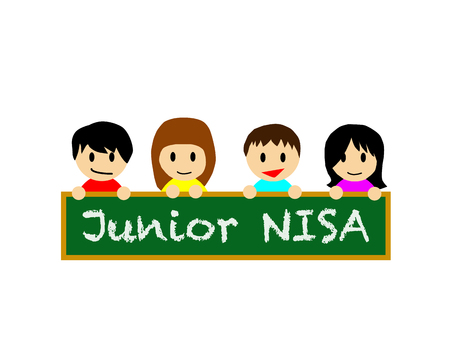 boy kid: Smiling happy boys and girls holding the black board on which NISA is written. Illustration