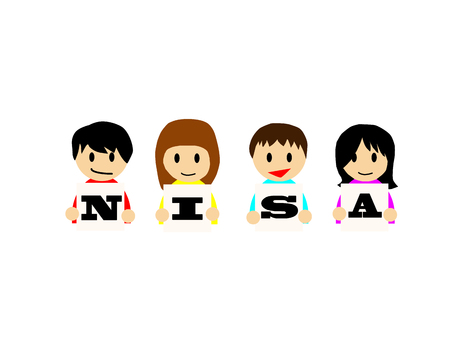 Smiling happy boys and girls holding the boards on which NISA is written.  イラスト・ベクター素材