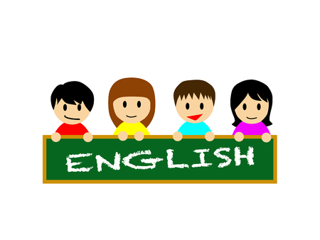learning english: This flat vector illustration depicts that kids are enjoying learning English