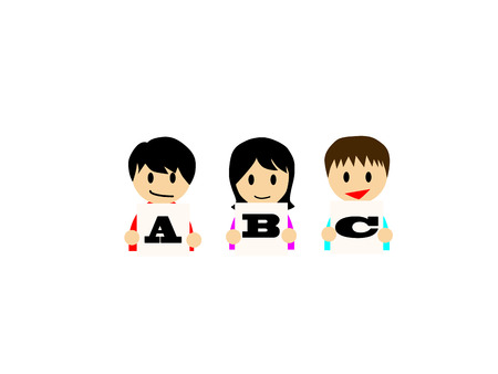 learning english: This flat illustration depicts that kids are enjoying learning English