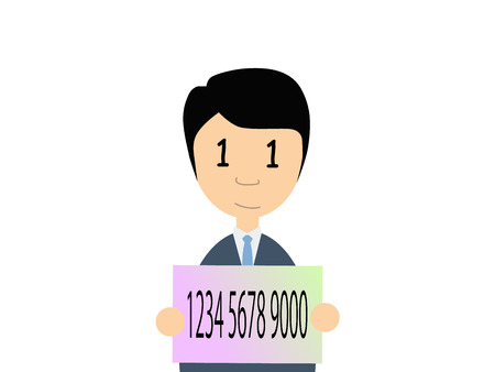 resident: Flat vector illustration of a man in business suit holding Japanese my number card. My number is a social security number in Japan started in 2015. Its character to promote this new system is a rabbit.