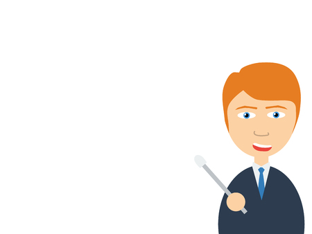 selling points: Flat vector illustration of a smiling handsome salesman making a presentation Illustration