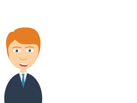 salesmen: Flat vector illustration of a smiling handsome salesman making presentation