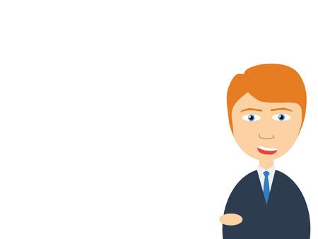 salesman: Flat vector illustration of a smiling handsome salesman making presentation