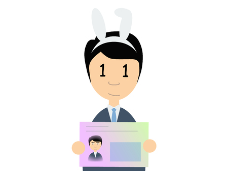 business suit: Flat vector illustration of a man in business suit holding Japanese number card. My number is a social security number in Japan started in 2015.