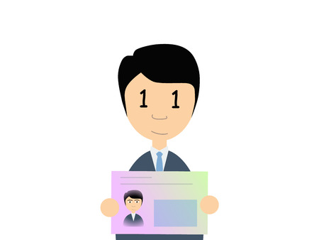 man holding card: Flat vector illustration of a man in business suit holding Japanese number card. My number is a social security number in Japan started in 2015.