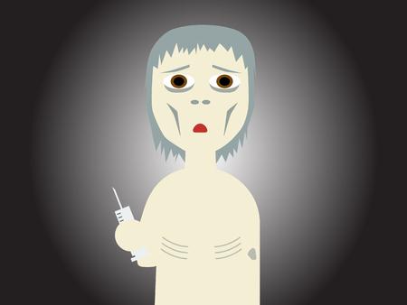 bony: Flat vector illustration of a drug abused bony guy holding a syringe Illustration