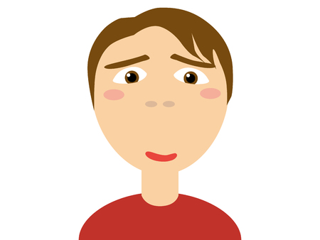 brown shirt: Flat vector illustration of a brown hair in red casual shirt horny guy looking at camera on white background Illustration