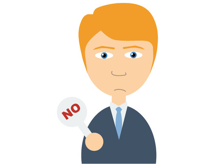 small plate: Flat vector illustration of a young caucasian guy in business suits holding a small plate on which a No is written on white background