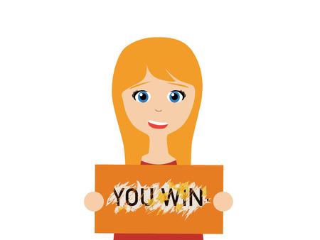 勝利宝くじを持って笑顔の若い女性のフラット ベクトル イラスト
