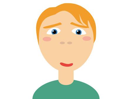 白い背景の上のカメラを見て緑のカジュアル シャツ角質男にブロンドの髪のフラット ベクトル イラスト