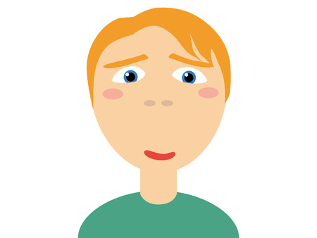 testosterone: Flat vector illustration of a blond hair in green casual shirt horny guy looking at camera on white background