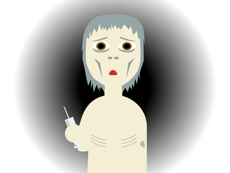 substance abuse: Flat vector illustration of a drug abused bony guy holding a syringe Illustration