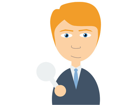 the caucasian: Flat vector illustration of a young caucasian guy in business suits holding a small white empty plate