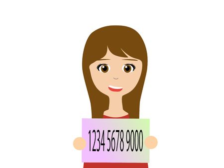 woman holding card: Flat vector illustration of a young woman holding Japanese my number card. My number is a social security number in Japan started in 2015. Illustration