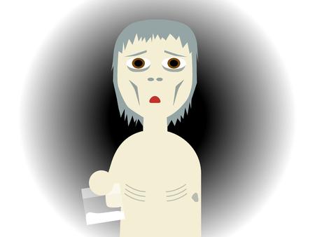 bony: Flat vector illustration of a drug abused bony guy holding a plastic bag Illustration