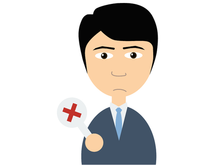 small plate: Flat vector illustration of a young asian guy in business suits holding a small plate on which a cross is written on white background