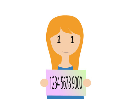 resident: A caucasian woman holding a Japanese my number card Illustration