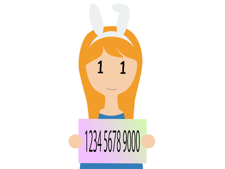 A caucasian woman holding a Japanese my number card  イラスト・ベクター素材
