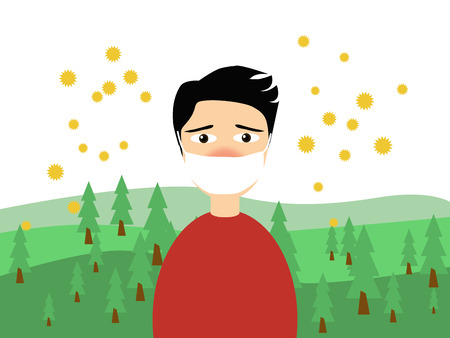 blowing nose: Flat illustration of a man wearing a medical mask in trouble with the cedar pollen allergy in spring