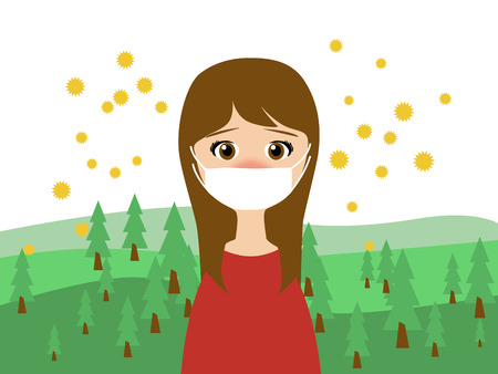 blowing nose: Flat illustration of a woman wearing a medical mask in trouble with the cedar pollen allergy in spring