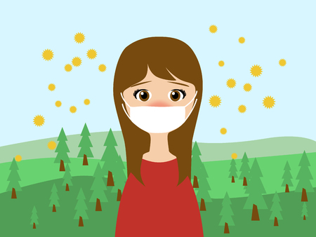 Flat illustration of a woman wearing a medical mask in trouble with the cedar pollen allergy in spring