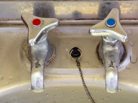 hot water tap: Japanese retro hot water tap with a red mark and cold water tap with a blue mark