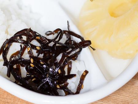 Japanese cuisine, coocked seaweeds called Kombu No Tsukudani on the dish