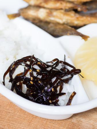 shinning: Japanese cuisine, coocked seaweeds called Kombu No Tsukudani on the dish