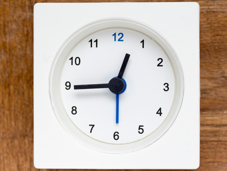 40 45: The series of the sequence of time on the simple white analog clock , 448