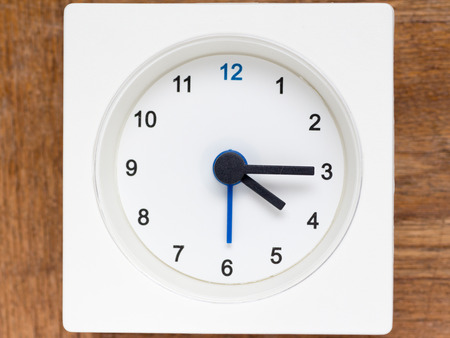 continuation: The series of the sequence of time on the simple white analog clock , 1848 Stock Photo