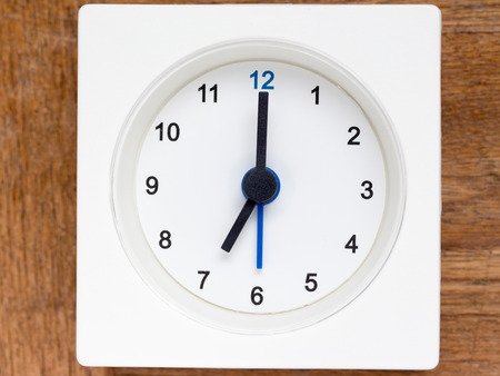 top seven: The series of the sequence of time on the simple white analog clock , 2948